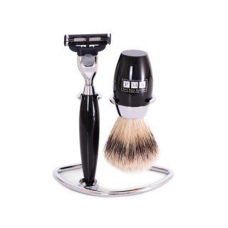 The Trafalgar Mach 3 Black Resin Shaving Set